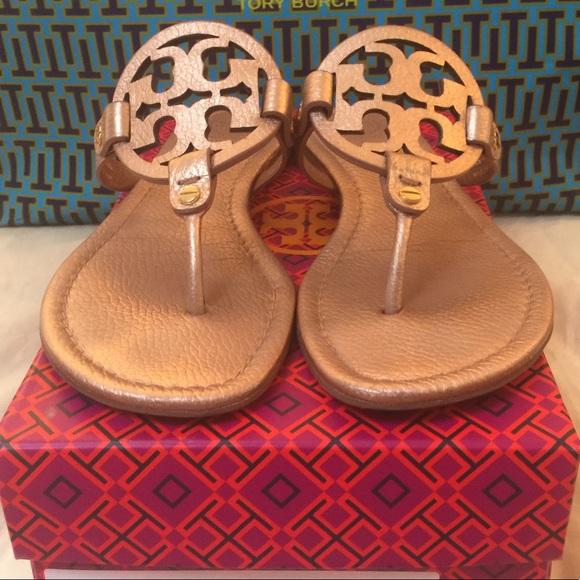 4a3be4637d2af Tory Burch Shoes - Tory Burch Rose Gold Metallic Miller Sandals 9.5